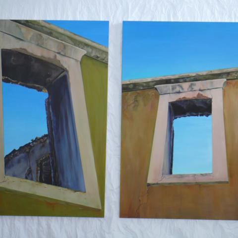 Windows Kalamoti, Greece.  Oil on canvas