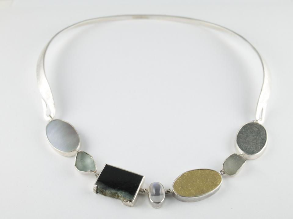 Found pebble necklace with silver and gold elements
