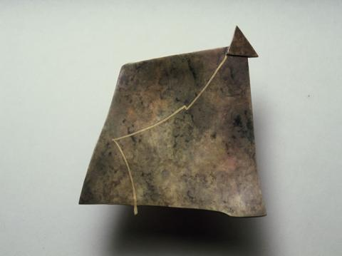 Brass Brooch patinated and inlayed