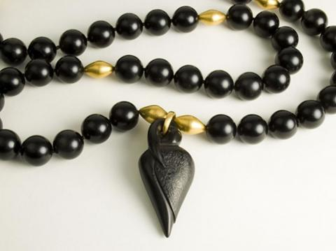 Rosebud Rosary Carved Jet,22ct gold beads